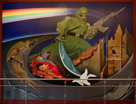 Murals at DIA Depict Nazi-Style Genocide of Women and Children