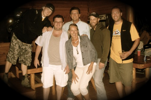 Sharlene with Luke Rudkowski (L), Gary Franchi, Richard Mack, Adam Kokesh and Joby Weeks