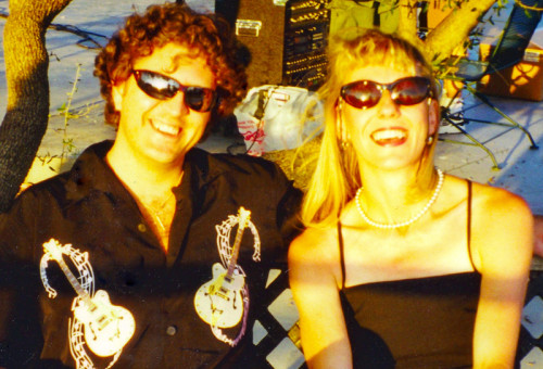 "Activist and Musician Sharlene Holt with friend at ""Luke Stock"" just outside Dallas, Texas, circa 2000"