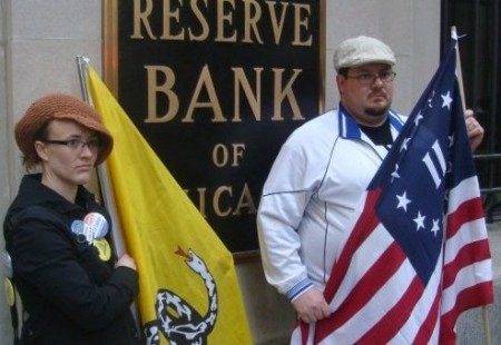 Catherine Bleish and Gary Franchi Protesting at Federal Reserve