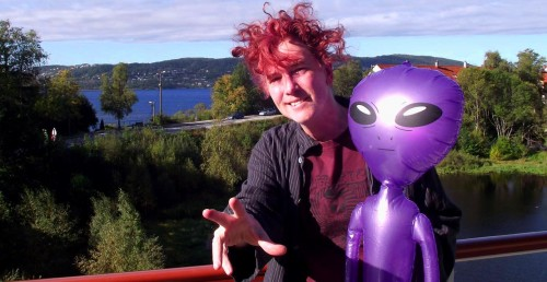 Featured Visual Artist David Dees with Alien; could it be a Zeta?