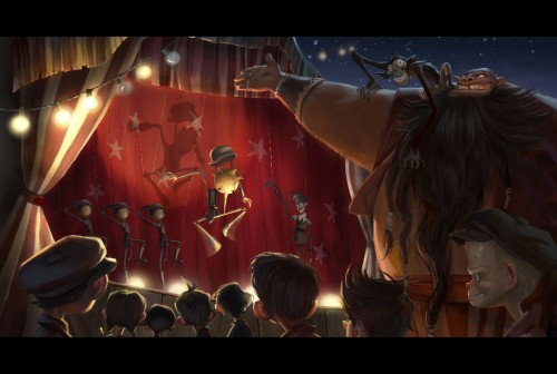 Persons are Puppets of the New World Order; image from Guillermo Del Toro's Pinnochio