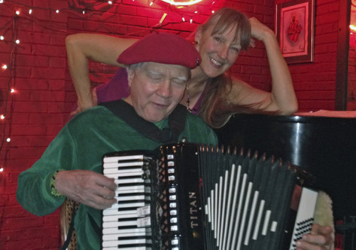 Sharlene with the awesome accordian player at The Mercury Cafe in Denver.