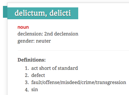 Delicti - An act falling short of standard
