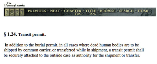 Where dead human bodies are to be shipped by common carrier, or transferred while in shipment, a transit permit shall be securely attached to the outside case as authority for the shipment or transfer.