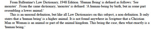 What is a Human Being by Randy Lee; definition from Ballentine's Law Dictionary 1948