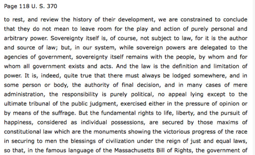 Yick Wo v. Hopkins (1886): Sovereignty Remains with the People