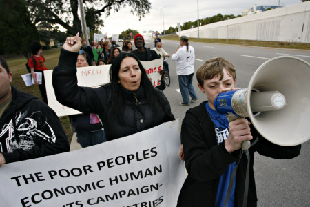 Cheri Honkala, center, organizer for the Poor People's Economic Human Rights Campaign