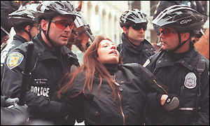 Cheri Honkala being arrested at rights event.
