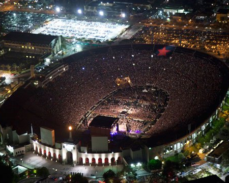 The sold out LA Memorial Coliseum was ready for Rage Against the Machine.