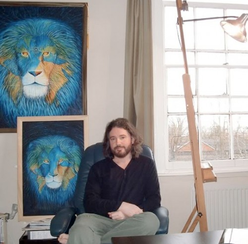 Neil Hague with a Painting from the Cover of David Icke's Book, Huma Race Get Off Your Knees: the Lion Sleeps No More