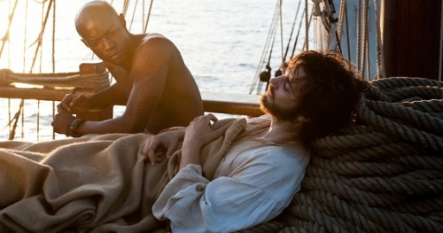 Lawyer, Jim Sturgess, and Stowaway slave, David Gyasi, in the Wachowski's movie, Cloud Atlas