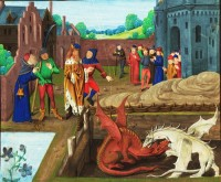 St. Alban's Chronicle depicting battle of the red and white Dragons.