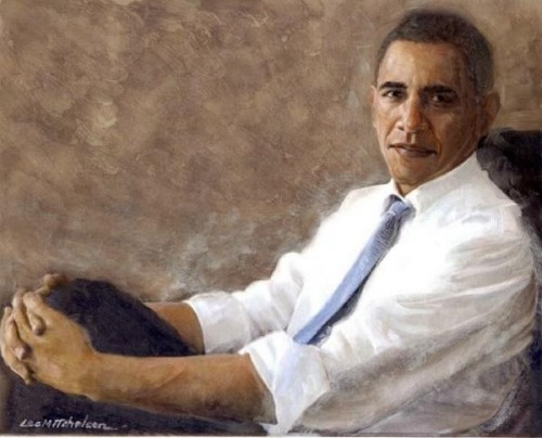 Barack Obama: Portrait of a President Oil Painting Lee Mitchelson