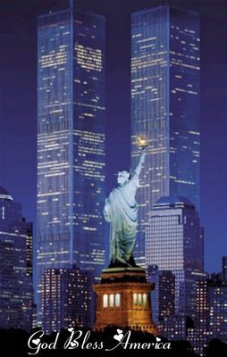 WTC Towers with Statue of Liberty