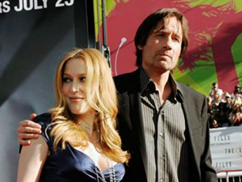 Dana Sculley (L) and Fox Mulder, stars in the X-Files