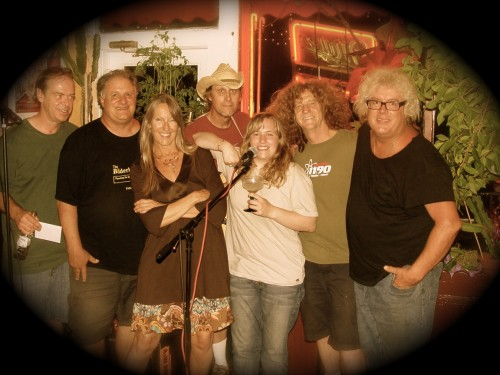 Musician and activist Sharlene Holt aka Ven Geancia with friends circa 2012 at M4F gathering at Rosita's Mexican Restaurant and Catering in Denver, Colorado..