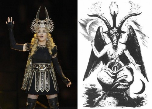 Madonna posed like Baphomet at the Superbowl 2012