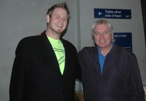 Vinny aka Mr. News (left) with Activist, Speaker, and Author David Icke