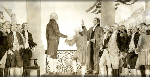 Washington taking the oath of office; but an oath to whom?