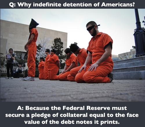 Why Indefinite Detention of Americans? Because the Federal Reserve Must Secure a Pledge of Collateral Equal to the Face Value of the Debt Notes it Prints