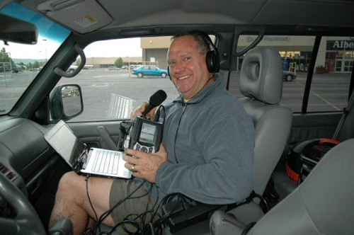 Ernie broadcasting his Declare Your Independence show on the road