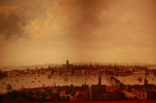 Painting of London burning during Great Fire