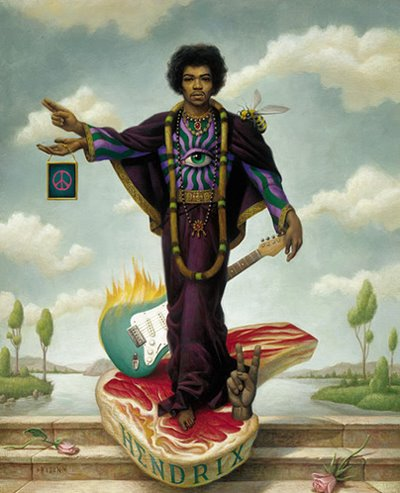 Visual artist Mark Ryden's painting of Jimi Hendrix