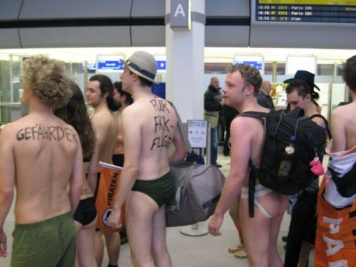 Naked body scanner protesters are a common sight these days