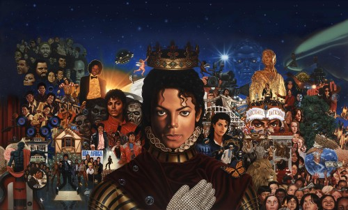 "The painting by Kadir Nelson features a montage of classic MJ images, from his Off the Wall-era tux to looks from the ""Thriller"" video."