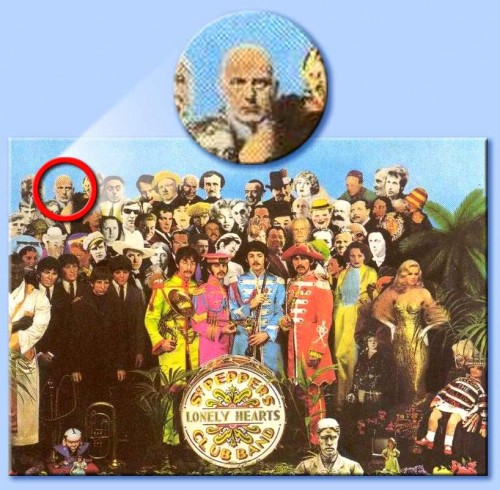 On the cover of Sgt. Pepper's, the real Beatles stand to the right of their strawmen overlooking their own grave. You can find the Satanist Aleister Crowley at the top left.