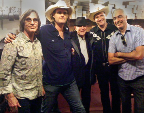 Jackson Browne (L) with Val McCallum, Leonard Cohen, Davey Faragher and Lincoln Myerson at McCabe's Guitar Shop, June 24, 2012.