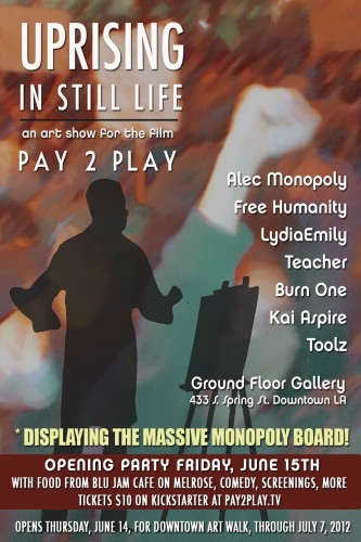 Invitation to art show to benefit Pay 2 Play.