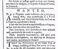 An indentured servant ad Glasgow Courant (Scotland), 4 September 1760