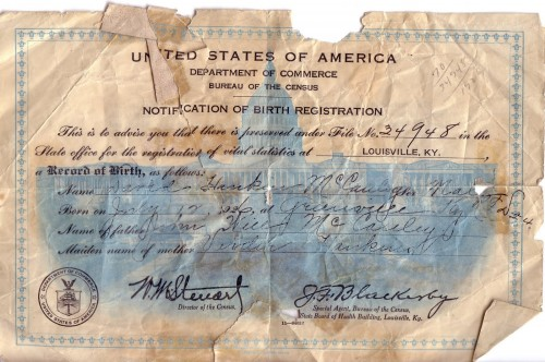 Document Evidencing the registration of birth with the Dept. of Commerce.