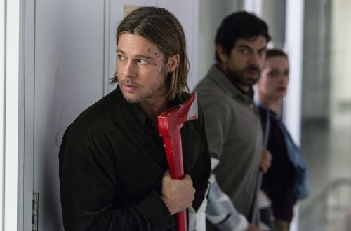 "Brad Pitt with Ax in the film, World War Z: "" the tares are the sons of the wicked one."""