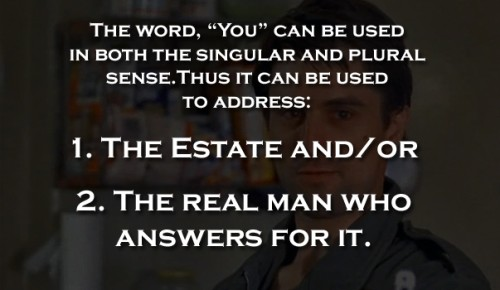 """You"", being both singular and plural, properly addresses the essential plural nature of the single PERSON entity."