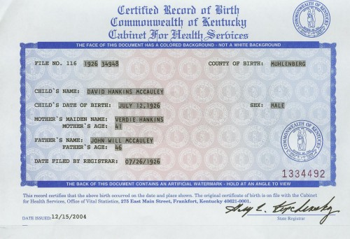 The File Number, 34948, on this Certified Record of Birth matches the Notification of Birth issued by the Dept. of Commerce.