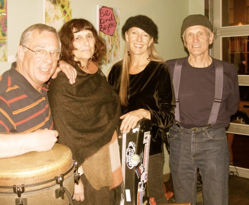 Sharlene with fellow performers in Colorado at Pajama Bakery Open Mic 2013