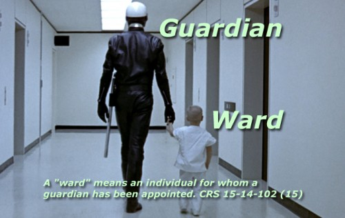 Scene from George Lucas' film, THX 1138: A ward and its guardian