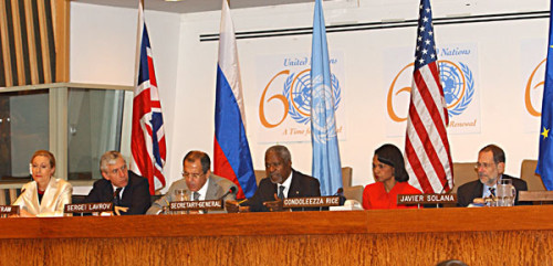 Condoleeza Rice at United Nations in 2005 with Logos and 666