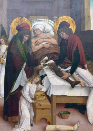 Cosmas and Damian miraculously transplant the black leg of the Ethiopian onto the white body of the patient.