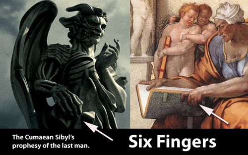Michelangelo's Painting of the Cumaean Sibyl: Six Fingers