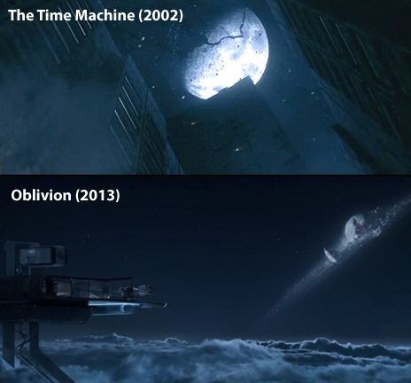 The Moon Destroyed in The Time Machine (top) and Oblivion