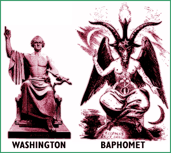 George Washington and Satanic Luciferian Baphomet Statues, Compared