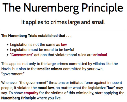 Nuremberg Principle from Zero Agression