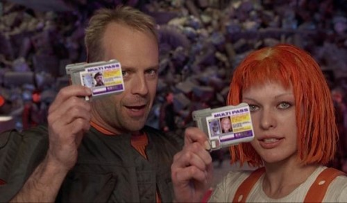 """Get your Multipass: Bruce and Millla in The Fifth Element; """"What concord hath Christ with Belial?"""" 2 Cor 6:15"""