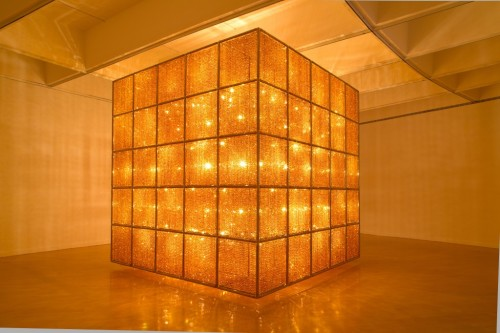 "Ai Weiwei, ""Cube Light"" (2008), glass crystals, lights, and metal (all photos by the author for Hyperallergic)."