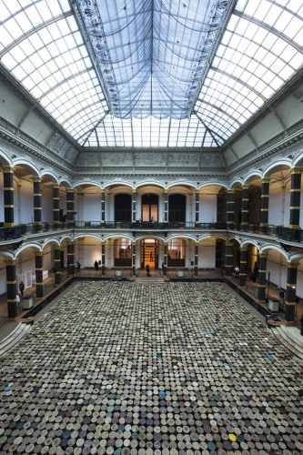 The artwork 'Stools' by Chinese artist  Ai Weiwei is displayed in the atrium of the Martin-Gropius-Bau Museum.