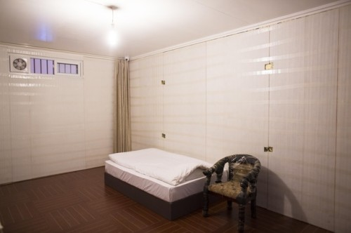 An artwork showing his prison cell by Chinese artist Ai Weiwei is displayed in the exhibition 'Evidence' at the Martin-Gropius-Bau Museum in Berlin, Wednesday, April 2, 2014.